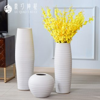 The Nordic European ceramic vase large floor furnishing articles simulation flower contracted sitting room put ins white flower implement ideas