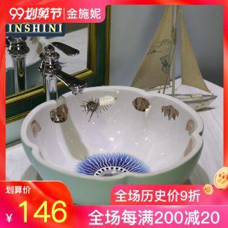 Gold cellnique jingdezhen ceramic sanitary ware art stage basin sink basin bathroom sinks underwater treasure