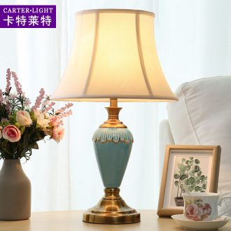 American ceramic desk lamp sweet romance contracted and contemporary sitting room of bedroom the head of a bed the study personality remote wedding decoration