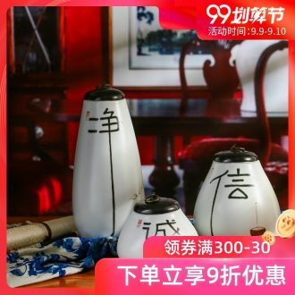 Modern new Chinese zen vase jingdezhen ceramic creative home decoration desktop small place flower vase