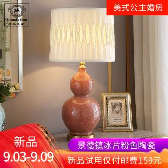 American children princess room pink ceramic desk lamp married marriage room berth lamp red sweet bedroom whole copper small lights