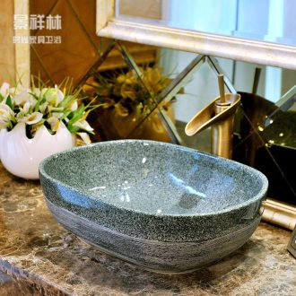 The stage basin ceramic art rectangle household lavatory basin basin bathroom Europe type restoring ancient ways is the sink
