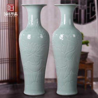 Jingdezhen ceramic Chinese carving furnishing articles sitting room of large vase accumulate large feng shui hotel opening gifts