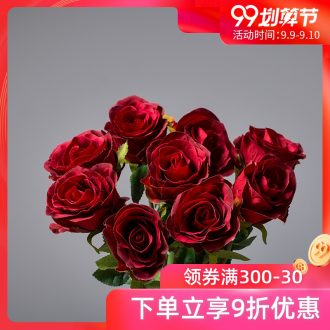 The minister ceramic diamond mei simulation flowers single 9 roses sitting room place decorative dried flowers bouquets of flowers simulation