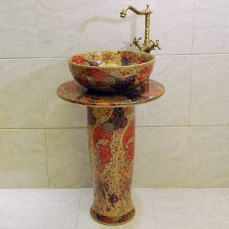Toilet one-piece ceramic POTS balcony column type lavatory floor balcony column basin hand basin