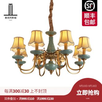 All copper pendant sitting room bedroom lamp study contracted dining-room lamp pure copper ceramic villa luxury european-style lamps and lanterns
