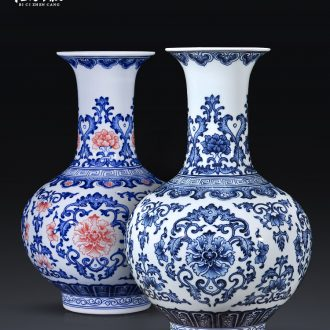 Jingdezhen ceramics vase hand-painted archaize large sitting room of Chinese style household flower arrangement of blue and white porcelain decoration furnishing articles