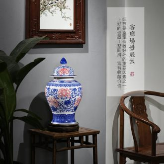 Blue and white porcelain vase general antique blue and white porcelain jar of jingdezhen ceramics youligong storage jar with cover bottle furnishing articles