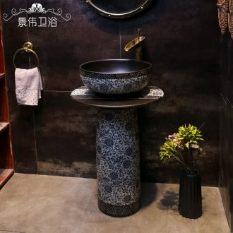 Pillar basin ceramic basin of wash one one floor type lavatory balcony garden antique blue-and-white pillar lavabo