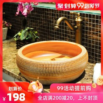 Spring rain jingdezhen ceramic stage basin waist drum retro bathroom art basin basin sink basin