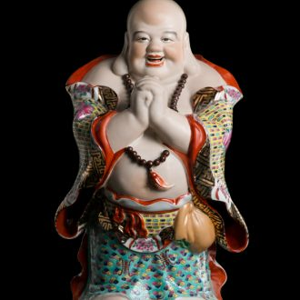 Jingdezhen ceramic lucky place Chinese feng shui home sitting room and consecrate Buddha maitreya art sculpture of the water