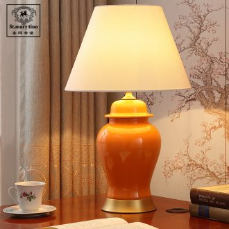 Santa marta American simple ceramic desk lamp continental warm home sitting room creative Nordic study dimming of bedroom the head of a bed