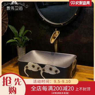 Inferior smooth carving art stage basin, ceramic basin restoring ancient ways of household archaize rectangle on the sink