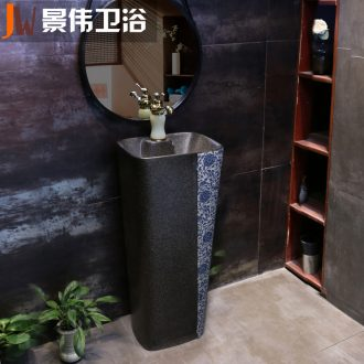 Basin of pillar type lavatory ceramic toilet lavabo integrated vertical column outdoor floor wash basin