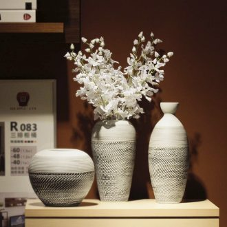 Vintage vase dried flower adornment is placed the sitting room TV wine table flower arranging art ceramic coarse pottery zen POTS