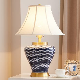 Sitting room lamp American contemporary and contracted style bedroom whole copper creative hand-painted water-wave jingdezhen ceramic bedside lamp