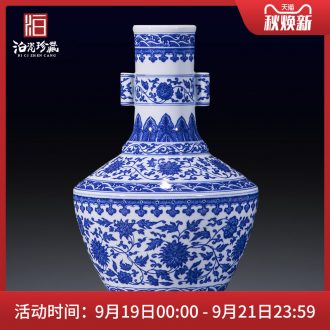 Jingdezhen blue and white ceramics bound branch flowers penetration ear vase collection of new Chinese style household sitting room adornment is placed