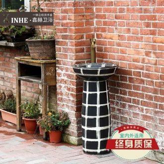 Ceramic column type lavatory basin one simple bathroom sink balcony ground art basin of vertical column