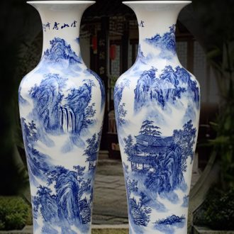 Jingdezhen blue and white porcelain hand-painted yunshan xiufeng sitting room of large vase household ceramics furnishing articles store decoration