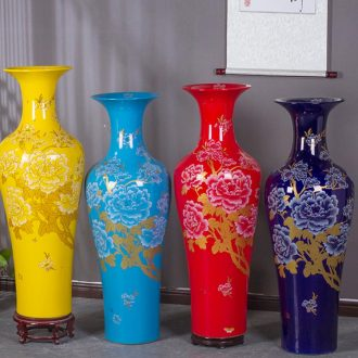 Jingdezhen ceramics China red peony vases furnishing articles of Chinese style living room floor decoration new housewarming gift