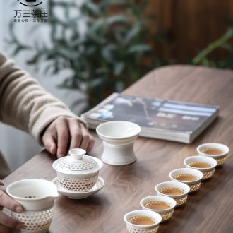 Three thousand tea tureen tea cups and exquisite porcelain kung fu tea set hollow out contracted ceramic household tea gift box