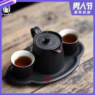 Tao fan ceramic kung fu tea tea dry foam plate of Japanese tea sets coarse pottery teacup a pot of two cups of tea tray
