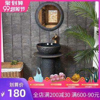 Koh larn, qi ceramic lavabo one basin floor type lavatory toilet household carved retro basin