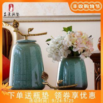 Jingdezhen vases, flower arrangement sitting room home furnishing articles office creative jar, household porcelain colored enamel porcelain