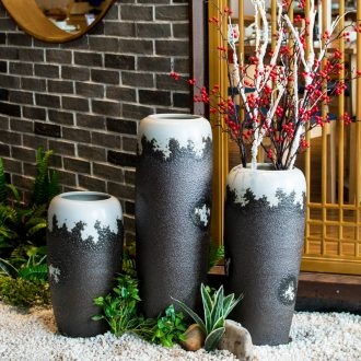 Restore ancient ways the ground ceramic big vase high dry flower arranging flowers sitting room jingdezhen ceramic ornaments furnishing articles pottery coarse pottery