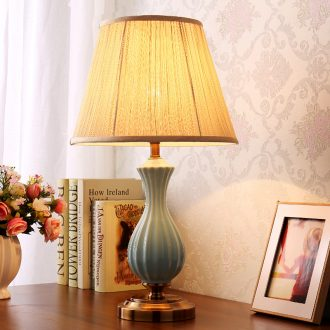 American living fashion simple decoration study remote warm bedroom berth lamp of jingdezhen ceramic lamp