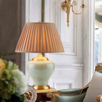 Sitting room bedroom berth lamp light new Chinese style villa atmospheric American luxury hotel hall full copper ceramic lamp