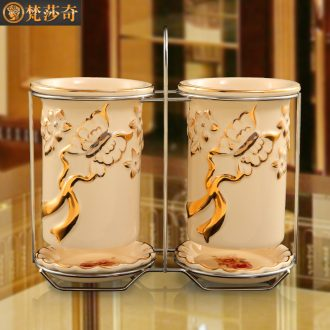 Household ceramics european-style originality chopsticks tube hanging binocular chopsticks chopsticks chopsticks box box mouldproof drop kitchen suits
