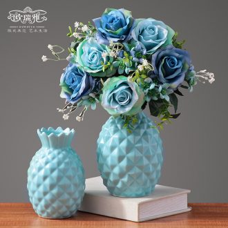 Small pure and fresh and ceramic vases, contemporary and contracted artificial flowers dried flower flower flower implement living room table home furnishing articles