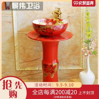 The sink pillar type lavatory ceramic floor balcony sink basin to one column outdoor China red