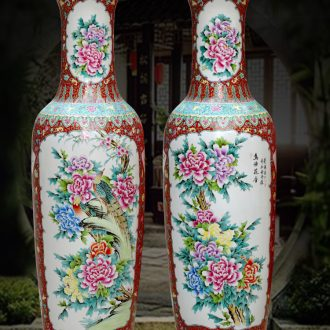 Archaize of jingdezhen ceramics powder enamel handpainted large vases, Chinese style living room decoration to the hotel opening furnishing articles
