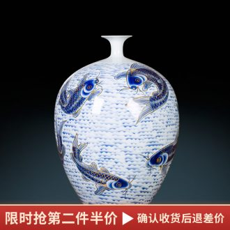 Jingdezhen ceramic paint big vase masters hand draw every year more than furnishing articles Chinese blue and white porcelain is sitting room adornment