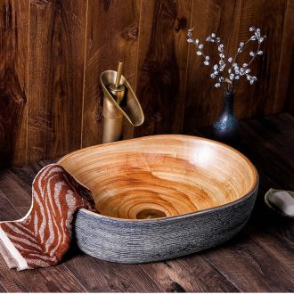 Basin of wash one on jingdezhen ceramic oval Chinese style household restroom hotel bathroom wash face plate of art