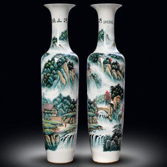 Jingdezhen ceramic hand-painted color kumsusan river vase home sitting room adornment shop floor furnishing articles