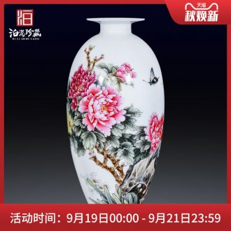 Jingdezhen ceramics hand-painted peony pastel flowers decorative vase sitting room furniture collection of new Chinese style furnishing articles
