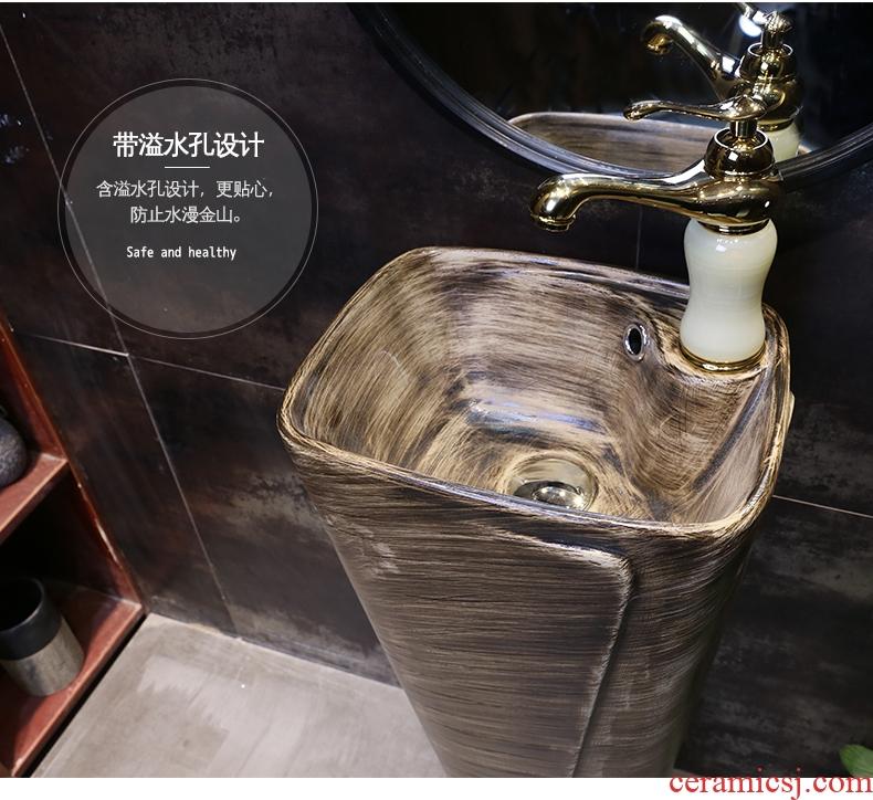 Retro pillar basin ceramic column type lavatory floor one balcony outdoor stage basin sink sink