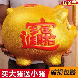 Ceramic jar pig thing well in reveal a cute little golden pig pig boy storage tanks coin shops