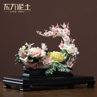 Oriental soil new Chinese style ceramic flower place to live in the sitting room porch manual art decoration/bloom of the four seasons