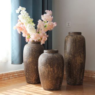 Art show variable flower flower implement of new Chinese style hotel ceramic decoration sitting room porch coarse pottery vase landing