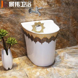 Ceramic floor mop pool household washing basin bathroom balcony mop mop mop pool small pool size