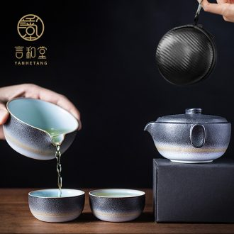 And hall ink dust crack cup portable travel kung fu tea set contracted a pot of two glass ceramic outdoors
