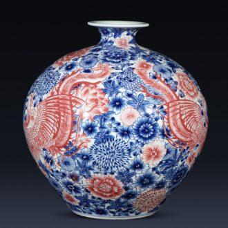 Jingdezhen ceramics imitation qianlong hand-painted blue and white porcelain vase, double phoenix home furnishing articles sitting room