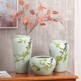Vase three-piece hand-painted vases, contemporary and contracted sitting room decorate household ceramics vase furnishing articles contracted floral organ