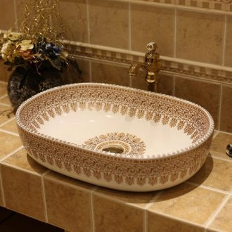 JingWei jingdezhen ceramic lavatory washbasins European stage basin bathroom art basin increase the ellipse