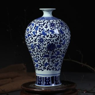 Jingdezhen pottery vases, flower receptacle antique blue-and-white bound branch lotus mei bottles of sitting room big beautiful porcelain furnishing articles of handicraft