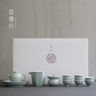 YanXiang fang ash glaze pure color kung fu tea sets tea pot set of pottery and porcelain of a complete set of three to tureen gift boxes